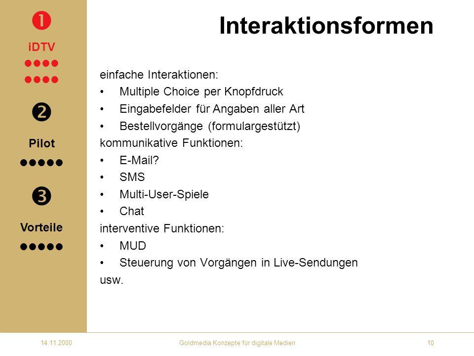 14.11.2000Goldmedia Konzepte für digitale Medien10 Interaktionsformen einfache Interaktionen: Multiple Choice per Knopfdruck Eingabefelder für Angaben aller Art Bestellvorgänge (formulargestützt) kommunikative Funktionen: E-Mail.