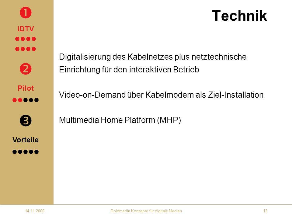 14.11.2000Goldmedia Konzepte für digitale Medien12 Technik Digitalisierung des Kabelnetzes plus netztechnische Einrichtung für den interaktiven Betrieb Video-on-Demand über Kabelmodem als Ziel-Installation Multimedia Home Platform (MHP) iDTV Pilot Vorteile