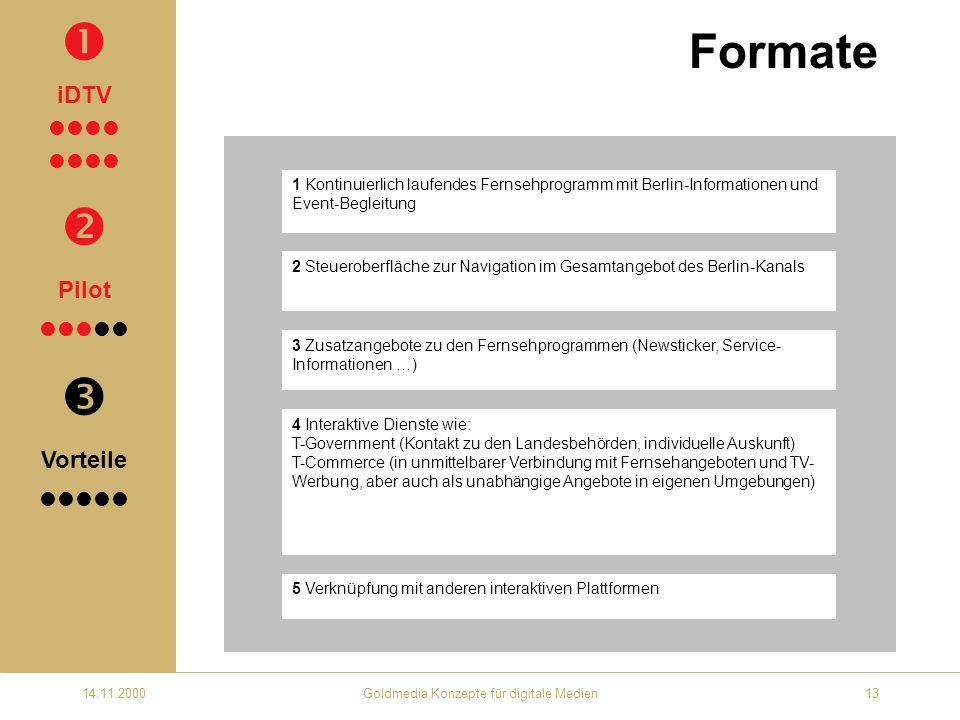 14.11.2000Goldmedia Konzepte für digitale Medien13 Formate 1 Kontinuierlich laufendes Fernsehprogramm mit Berlin-Informationen und Event-Begleitung 2 Steueroberfläche zur Navigation im Gesamtangebot des Berlin-Kanals 3 Zusatzangebote zu den Fernsehprogrammen (Newsticker, Service- Informationen …) 4 Interaktive Dienste wie: T-Government (Kontakt zu den Landesbehörden, individuelle Auskunft) T-Commerce (in unmittelbarer Verbindung mit Fernsehangeboten und TV- Werbung, aber auch als unabhängige Angebote in eigenen Umgebungen) 5 Verknüpfung mit anderen interaktiven Plattformen iDTV Pilot Vorteile
