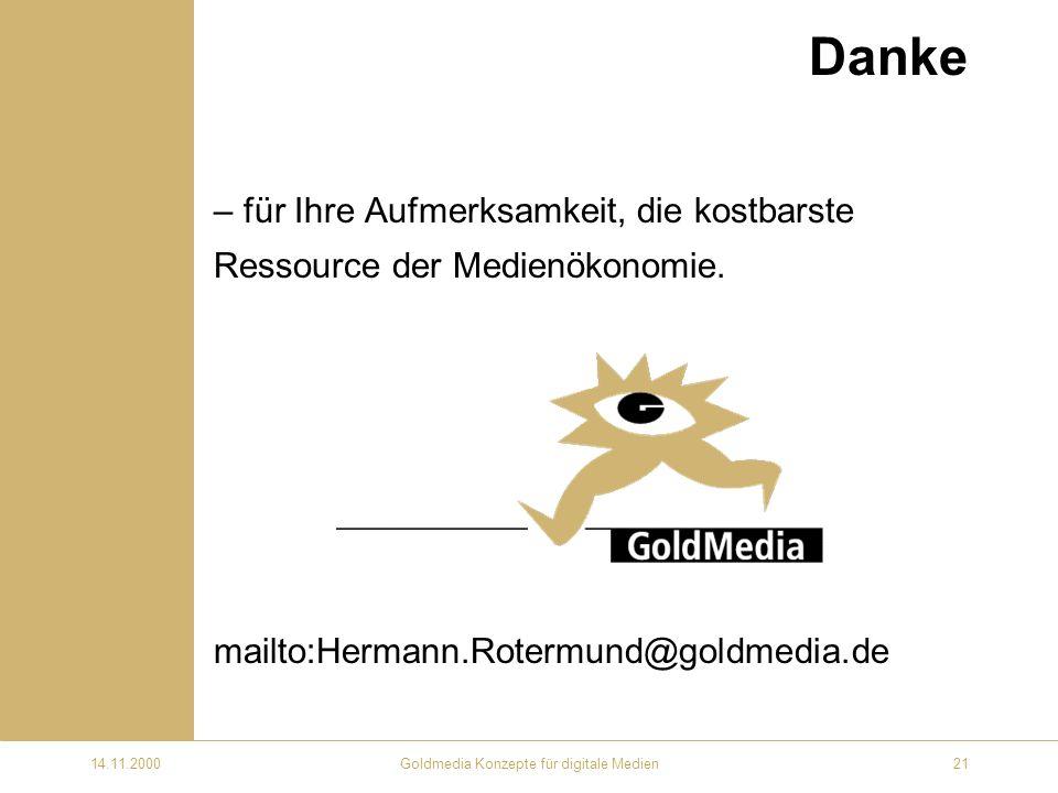 14.11.2000Goldmedia Konzepte für digitale Medien21 Danke – für Ihre Aufmerksamkeit, die kostbarste Ressource der Medienökonomie.