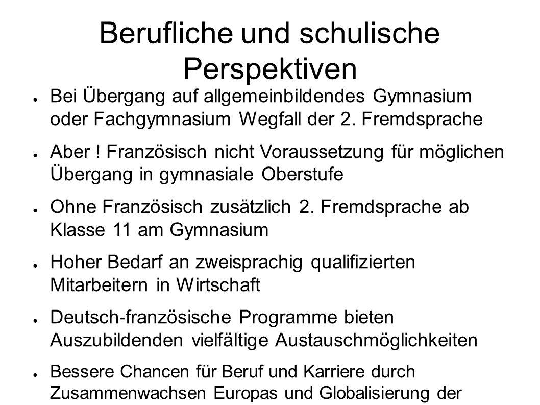 Berufliche und schulische Perspektiven Bei Übergang auf allgemeinbildendes Gymnasium oder Fachgymnasium Wegfall der 2. Fremdsprache Aber ! Französisch
