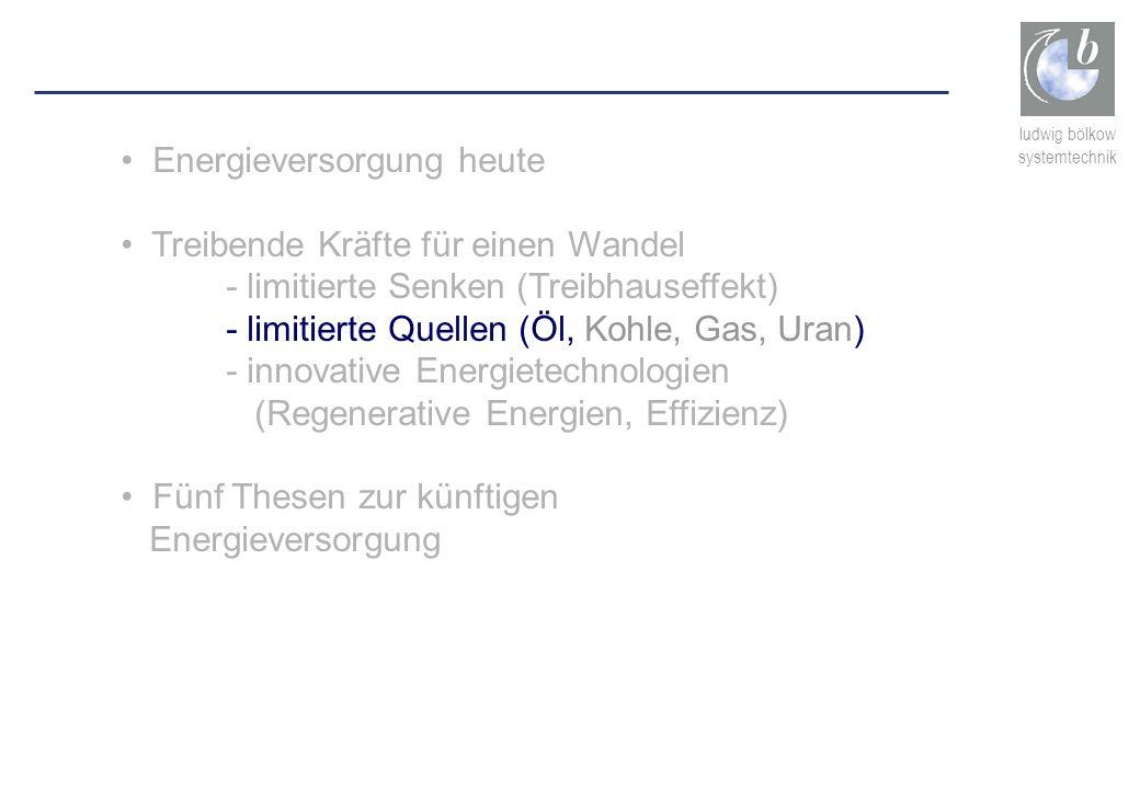 ludwig bölkow systemtechnik Energieversorgung heute Treibende Kräfte für einen Wandel - limitierte Senken (Treibhauseffekt) - limitierte Quellen (Öl,