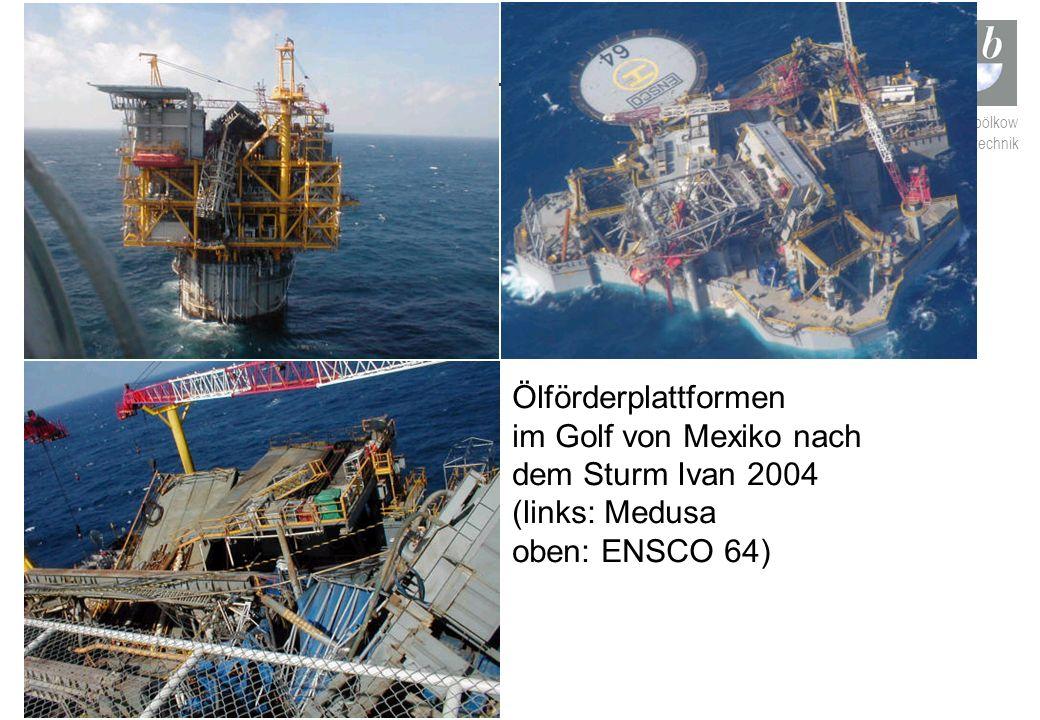 ludwig bölkow systemtechnik Ölförderplattformen im Golf von Mexiko nach dem Sturm Ivan 2004 (links: Medusa oben: ENSCO 64)