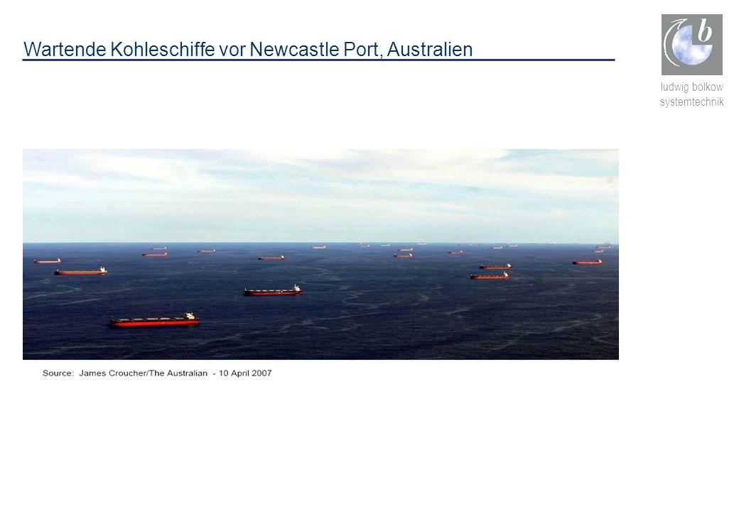ludwig bölkow systemtechnik Wartende Kohleschiffe vor Newcastle Port, Australien