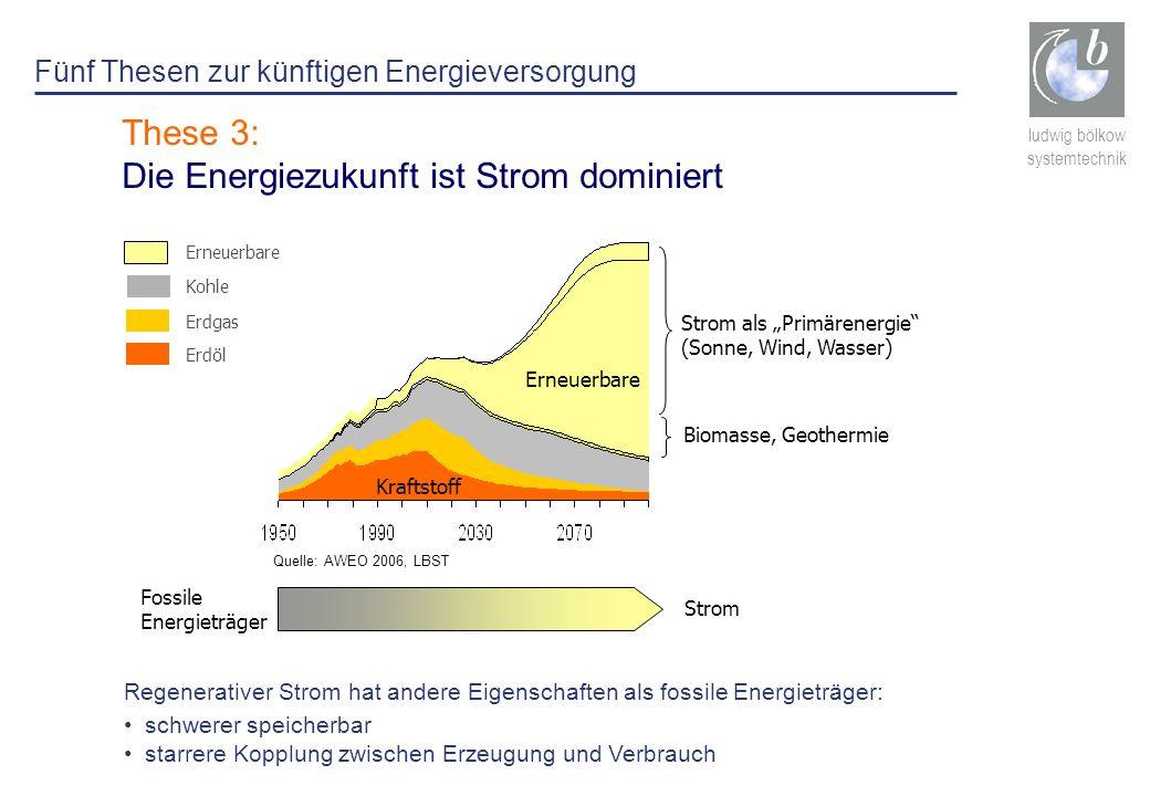 ludwig bölkow systemtechnik These 3: Die Energiezukunft ist Strom dominiert Regenerativer Strom hat andere Eigenschaften als fossile Energieträger: sc