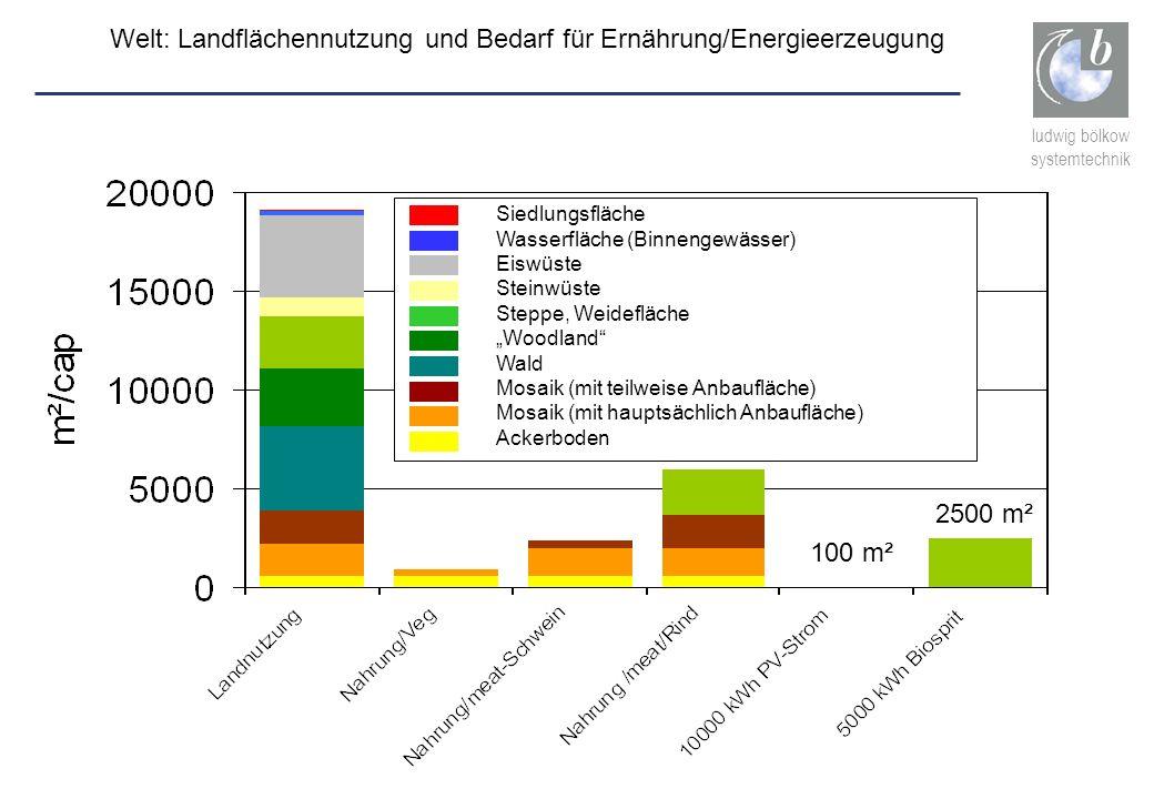 ludwig bölkow systemtechnik Welt: Landflächennutzung und Bedarf für Ernährung/Energieerzeugung 100 m² 2500 m² Siedlungsfläche Wasserfläche (Binnengewä