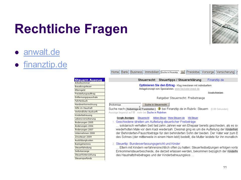 11 Rechtliche Fragen anwalt.de finanztip.de