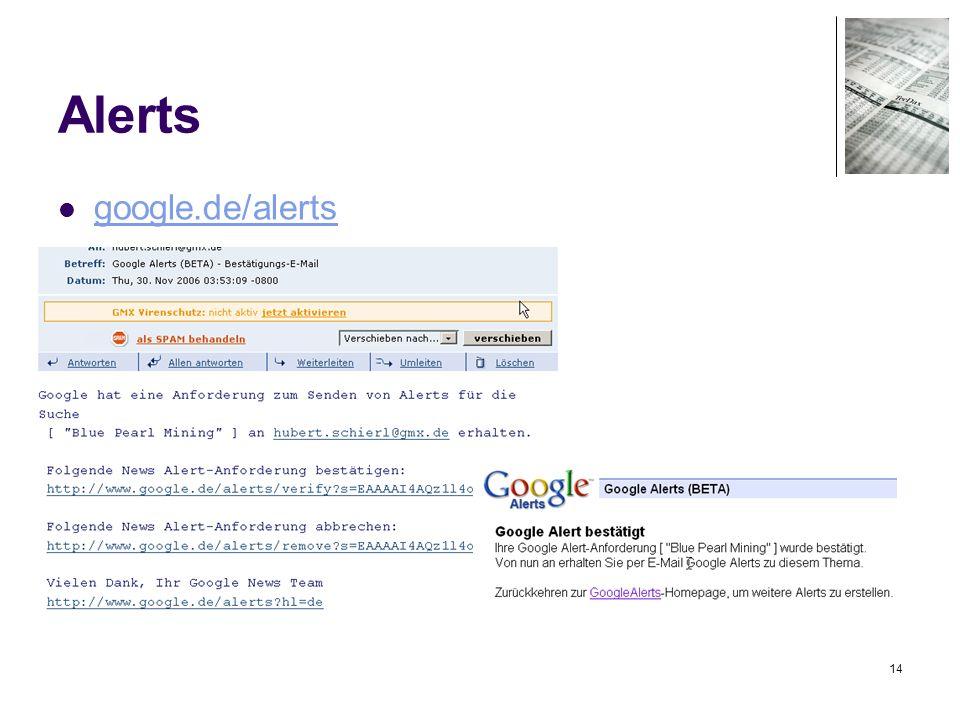 14 Alerts google.de/alerts