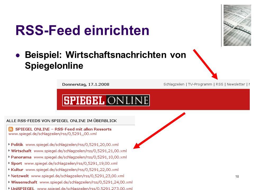18 RSS-Feed einrichten Beispiel: Wirtschaftsnachrichten von Spiegelonline