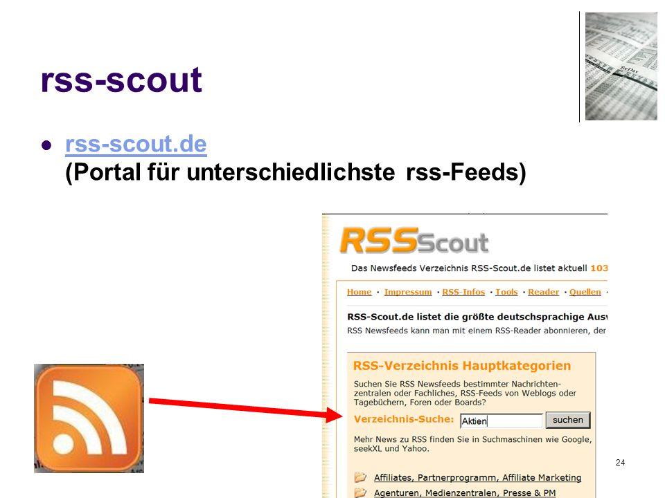 24 rss-scout rss-scout.de (Portal für unterschiedlichste rss-Feeds) rss-scout.de