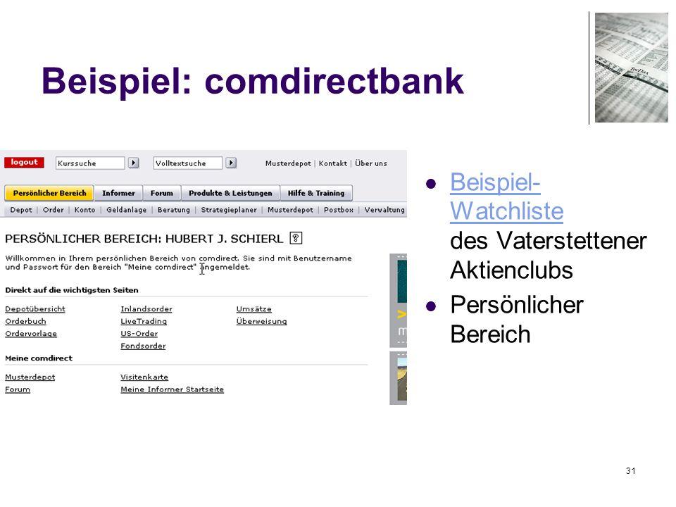 31 Beispiel: comdirectbank Beispiel- Watchliste des Vaterstettener Aktienclubs Beispiel- Watchliste Persönlicher Bereich