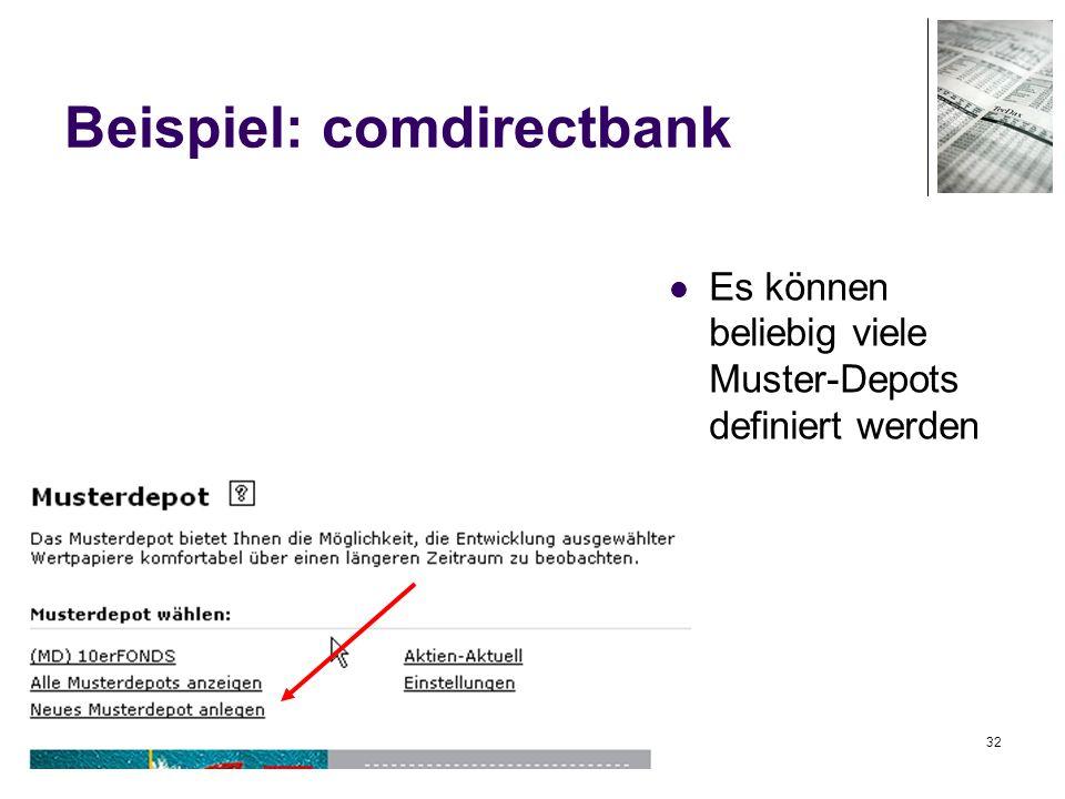32 Beispiel: comdirectbank Es können beliebig viele Muster-Depots definiert werden