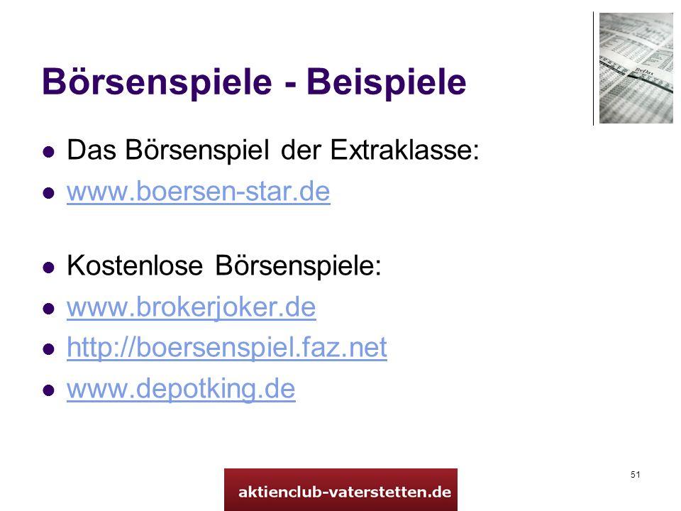 51 Börsenspiele - Beispiele Das Börsenspiel der Extraklasse: www.boersen-star.de Kostenlose Börsenspiele: www.brokerjoker.de http://boersenspiel.faz.net www.depotking.de