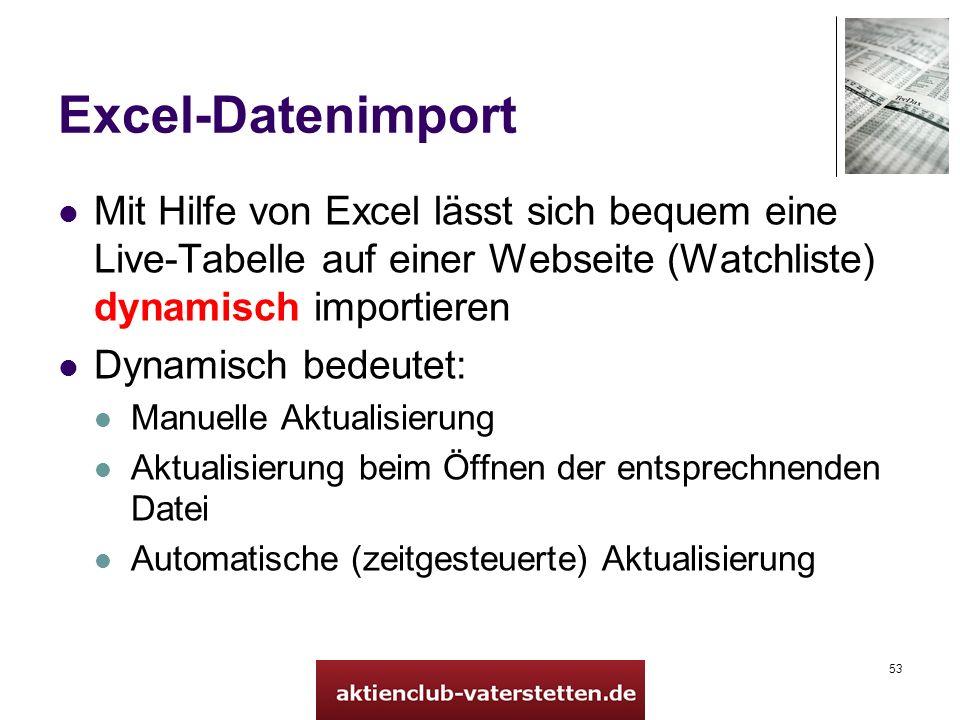 53 Excel-Datenimport Mit Hilfe von Excel lässt sich bequem eine Live-Tabelle auf einer Webseite (Watchliste) dynamisch importieren Dynamisch bedeutet: Manuelle Aktualisierung Aktualisierung beim Öffnen der entsprechnenden Datei Automatische (zeitgesteuerte) Aktualisierung