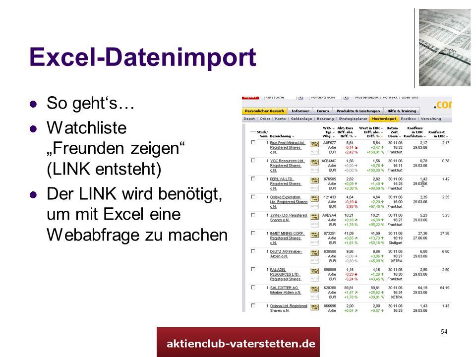 54 Excel-Datenimport So gehts… Watchliste Freunden zeigen (LINK entsteht) Der LINK wird benötigt, um mit Excel eine Webabfrage zu machen