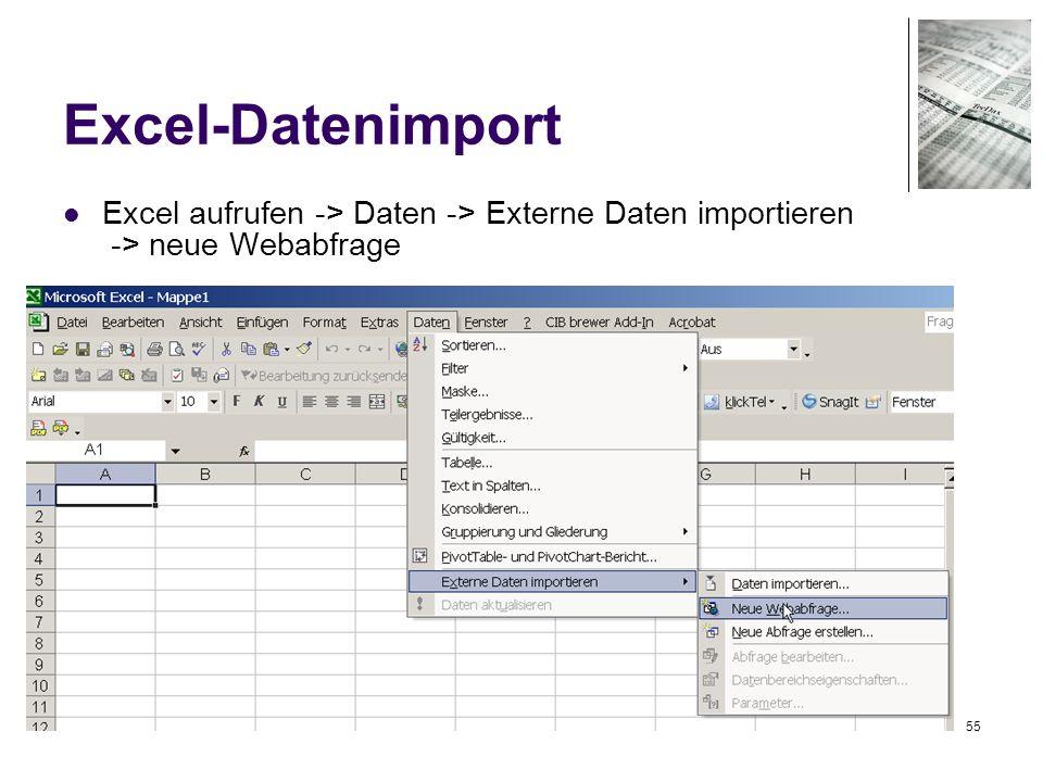 55 Excel-Datenimport Excel aufrufen -> Daten -> Externe Daten importieren -> neue Webabfrage