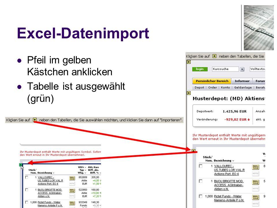 58 Excel-Datenimport Pfeil im gelben Kästchen anklicken Tabelle ist ausgewählt (grün)