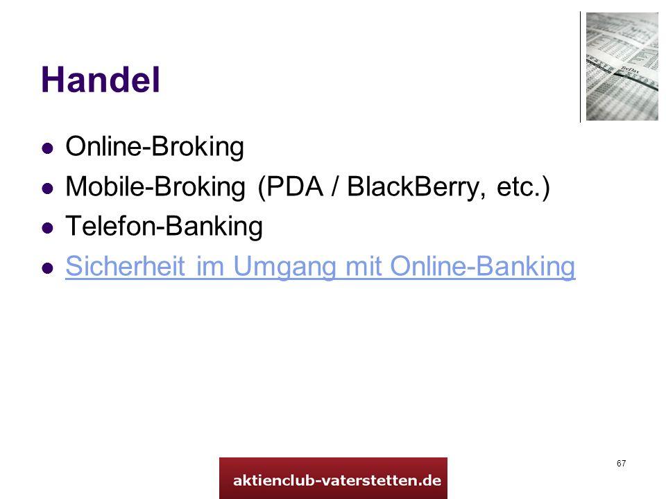67 Handel Online-Broking Mobile-Broking (PDA / BlackBerry, etc.) Telefon-Banking Sicherheit im Umgang mit Online-Banking