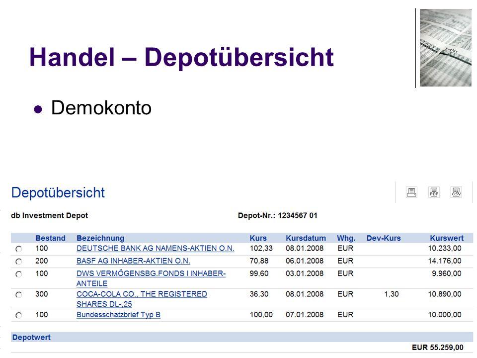 71 Handel – Depotübersicht Demokonto