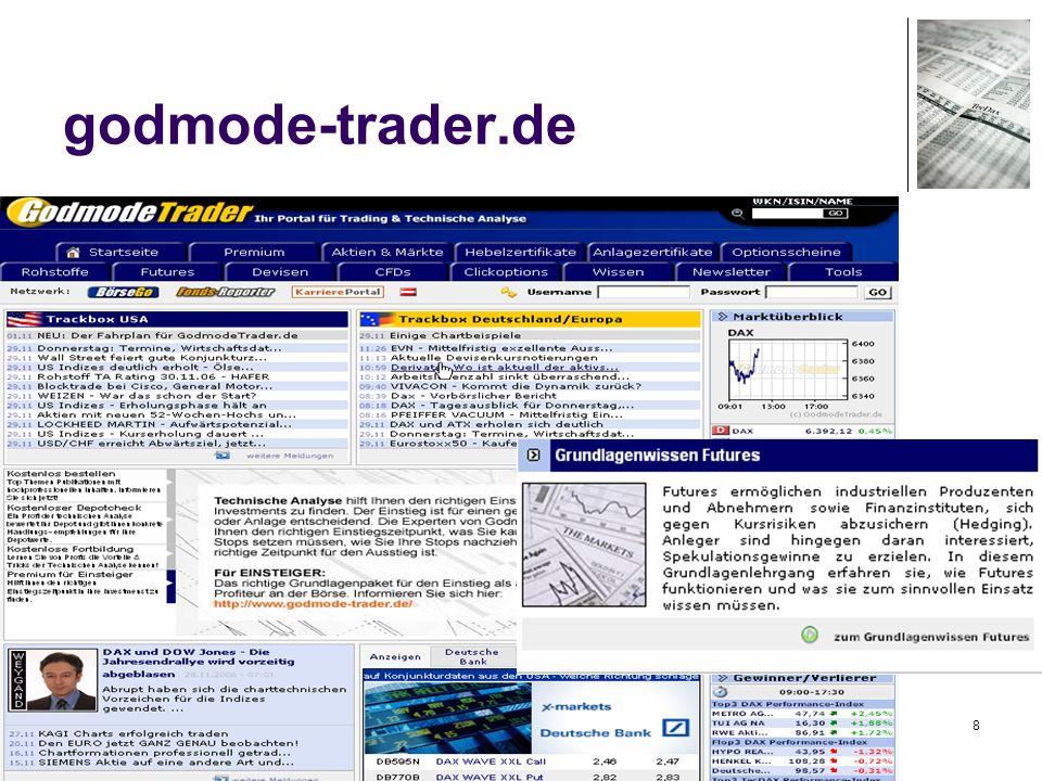 29 Beispiel: comdirectbank Beispiel- Watchliste des Vaterstettener Aktienclubs Beispiel- Watchliste