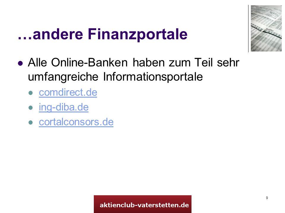 9 …andere Finanzportale Alle Online-Banken haben zum Teil sehr umfangreiche Informationsportale comdirect.de ing-diba.de cortalconsors.de