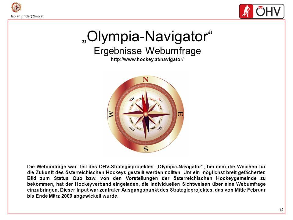 fabian.ringler@tmo.at 12 Olympia-Navigator Ergebnisse Webumfrage http://www.hockey.at/navigator/ Die Webumfrage war Teil des ÖHV-Strategieprojektes Ol