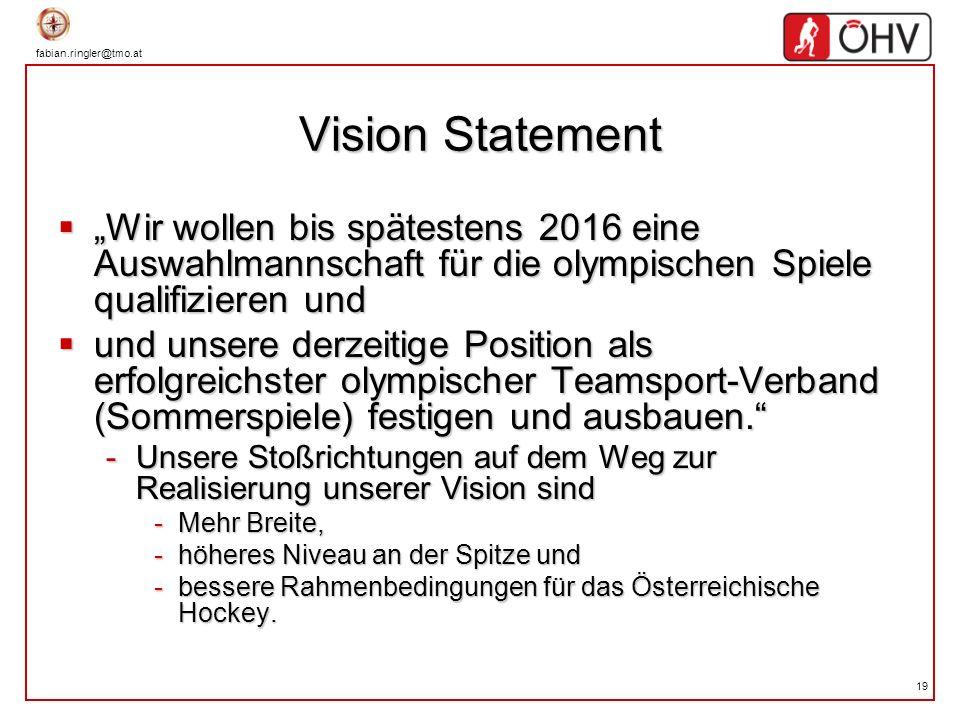 fabian.ringler@tmo.at 19 Vision Statement Wir wollen bis spätestens 2016 eine Auswahlmannschaft für die olympischen Spiele qualifizieren und Wir wolle
