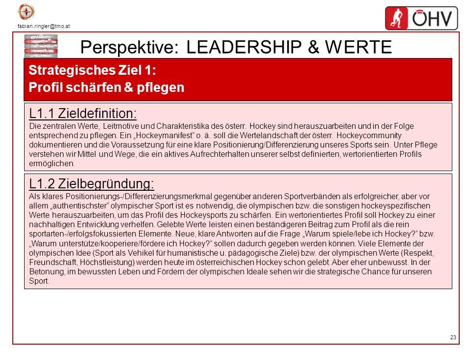fabian.ringler@tmo.at 23 Perspektive: LEADERSHIP & WERTE Strategisches Ziel 1: Profil schärfen & pflegen L1.1 Zieldefinition: Die zentralen Werte, Lei