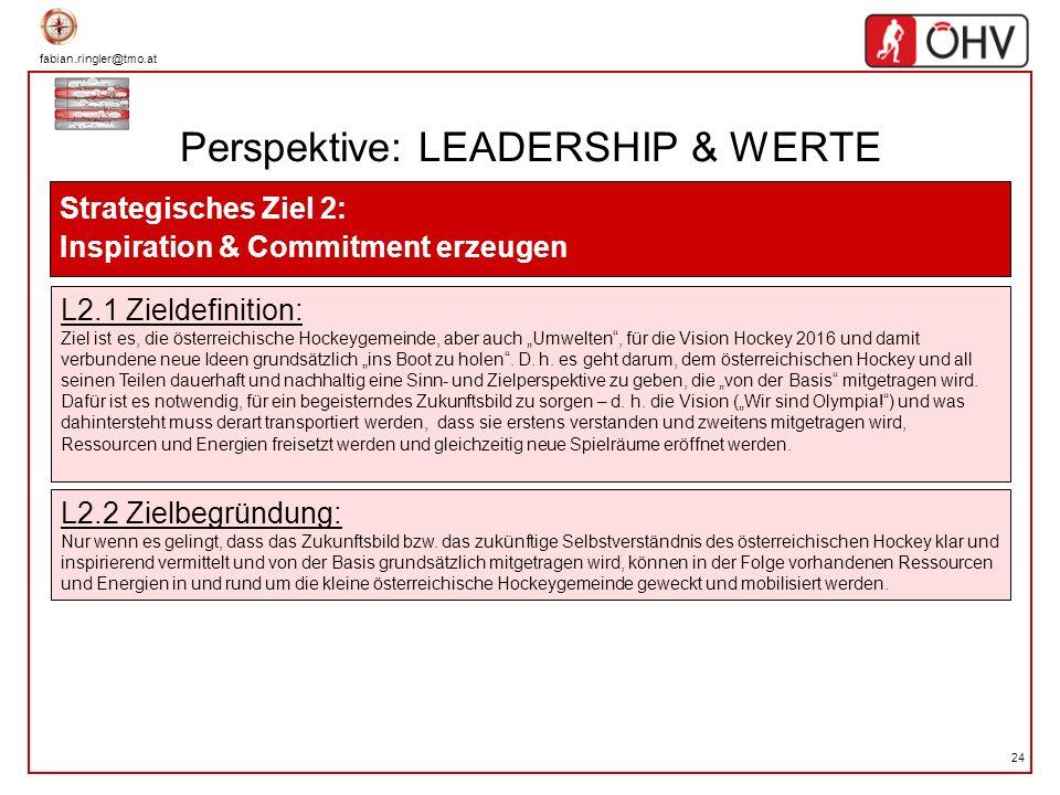fabian.ringler@tmo.at 24 Perspektive: LEADERSHIP & WERTE Strategisches Ziel 2: Inspiration & Commitment erzeugen L2.1 Zieldefinition: Ziel ist es, die
