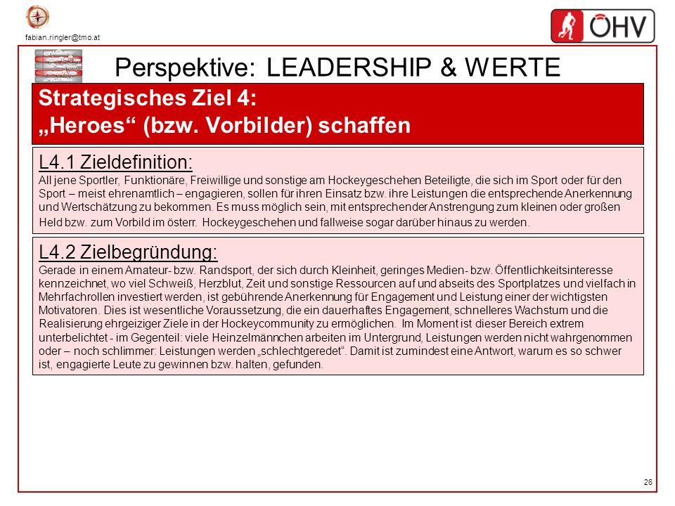 fabian.ringler@tmo.at 26 Perspektive: LEADERSHIP & WERTE Strategisches Ziel 4: Heroes (bzw. Vorbilder) schaffen L4.1 Zieldefinition: All jene Sportler