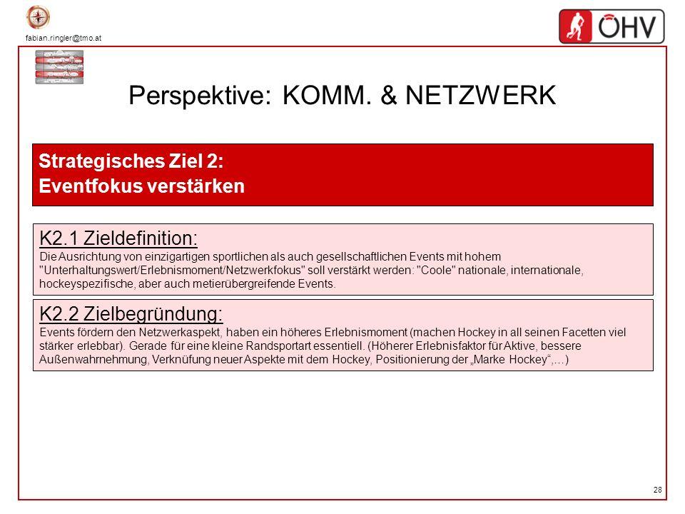 fabian.ringler@tmo.at 28 Perspektive: KOMM. & NETZWERK Strategisches Ziel 2: Eventfokus verstärken K2.1 Zieldefinition: Die Ausrichtung von einzigarti
