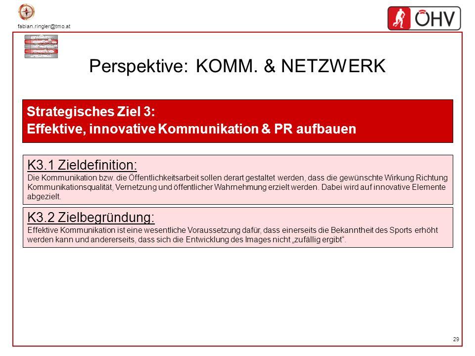fabian.ringler@tmo.at 29 Perspektive: KOMM. & NETZWERK Strategisches Ziel 3: Effektive, innovative Kommunikation & PR aufbauen K3.1 Zieldefinition: Di