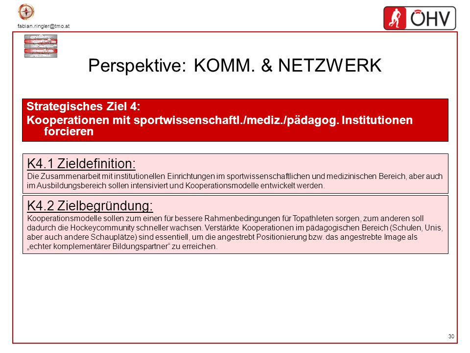 fabian.ringler@tmo.at 30 Perspektive: KOMM. & NETZWERK Strategisches Ziel 4: Kooperationen mit sportwissenschaftl./mediz./pädagog. Institutionen forci