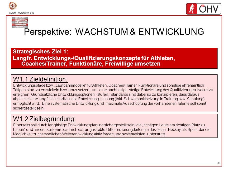 fabian.ringler@tmo.at 35 Perspektive: WACHSTUM & ENTWICKLUNG Strategisches Ziel 1: Langfr. Entwicklungs-/Qualifizierungskonzepte für Athleten, Coaches