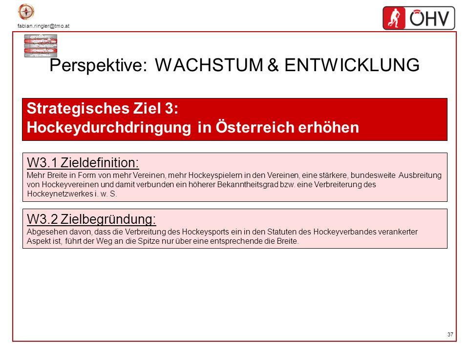 fabian.ringler@tmo.at 37 Perspektive: WACHSTUM & ENTWICKLUNG Strategisches Ziel 3: Hockeydurchdringung in Österreich erhöhen W3.1 Zieldefinition: Mehr