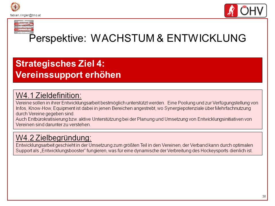 fabian.ringler@tmo.at 38 Perspektive: WACHSTUM & ENTWICKLUNG Strategisches Ziel 4: Vereinssupport erhöhen W4.1 Zieldefinition: Vereine sollen in ihrer
