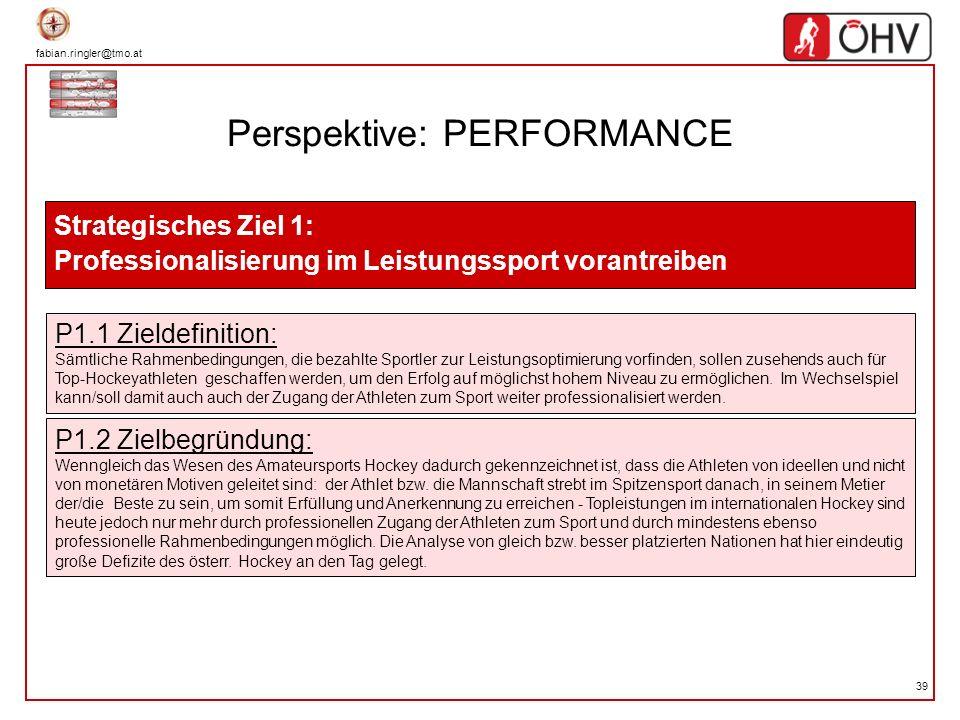 fabian.ringler@tmo.at 39 Perspektive: PERFORMANCE Strategisches Ziel 1: Professionalisierung im Leistungssport vorantreiben P1.1 Zieldefinition: Sämtl
