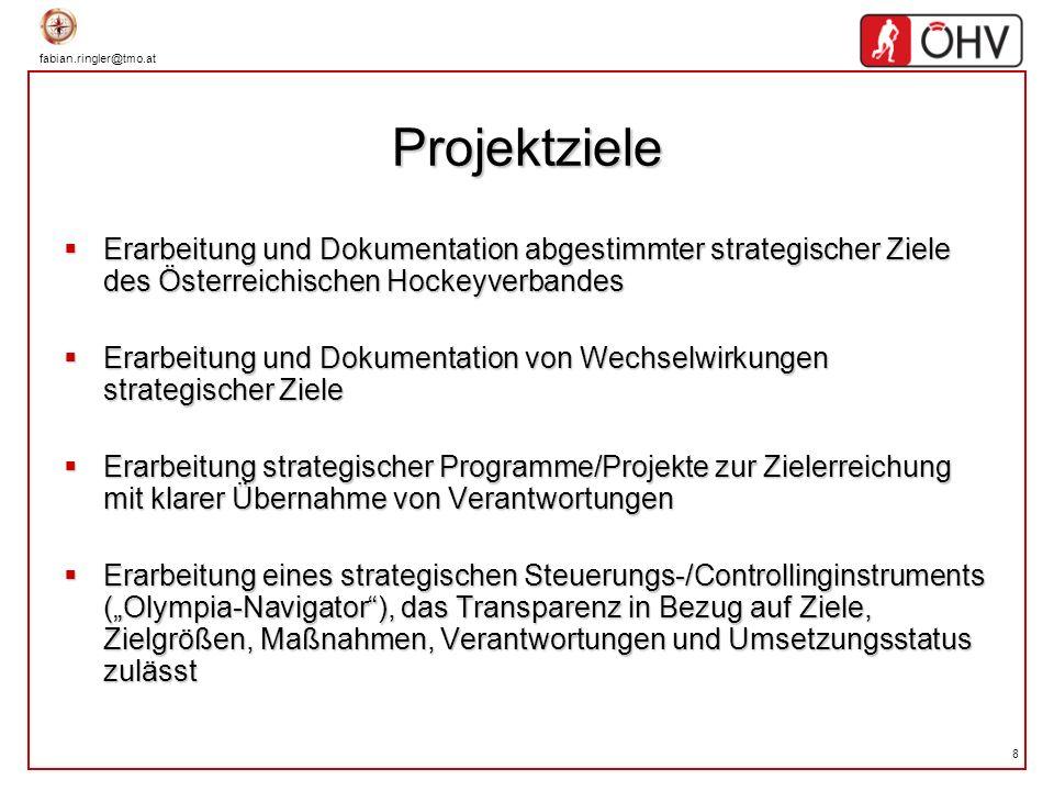 8 Projektziele Erarbeitung und Dokumentation abgestimmter strategischer Ziele des Österreichischen Hockeyverbandes Erarbeitung und Dokumentation abges
