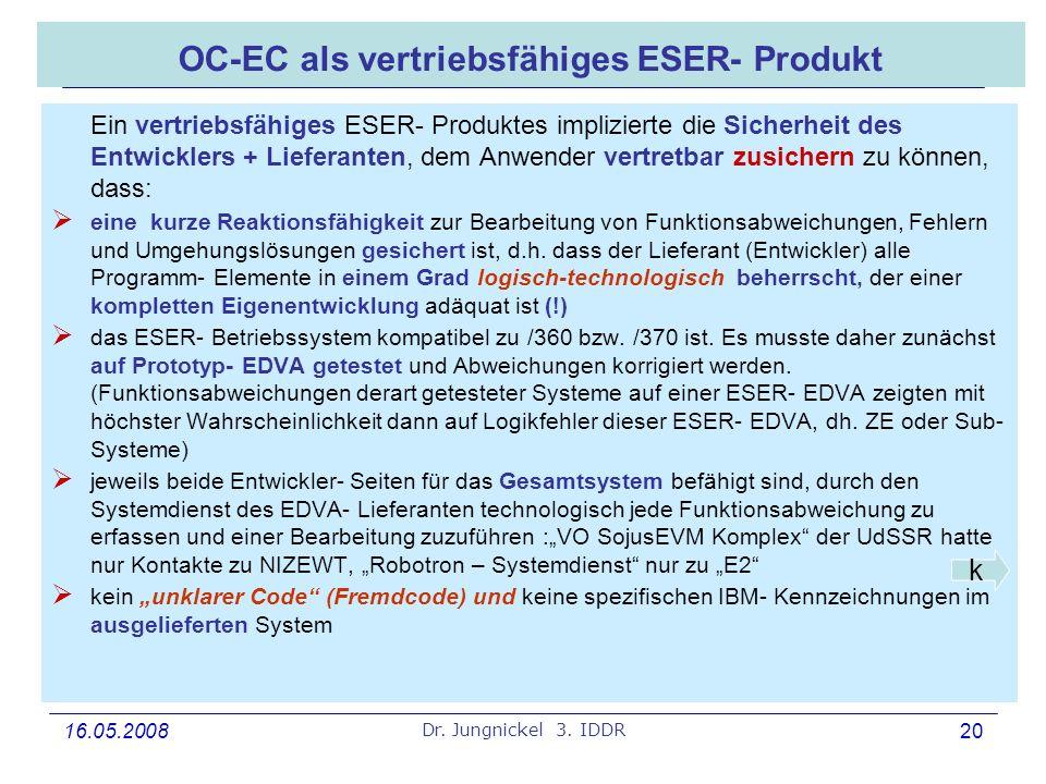 16.05.2008 Dr. Jungnickel 3. IDDR 20 OC-EC als vertriebsfähiges ESER- Produkt Ein vertriebsfähiges ESER- Produktes implizierte die Sicherheit des Entw