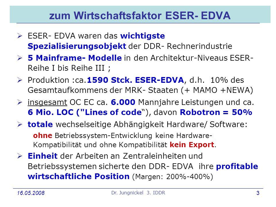 16.05.2008 Dr. Jungnickel 3. IDDR 3 zum Wirtschaftsfaktor ESER- EDVA ESER- EDVA waren das wichtigste Spezialisierungsobjekt der DDR- Rechnerindustrie