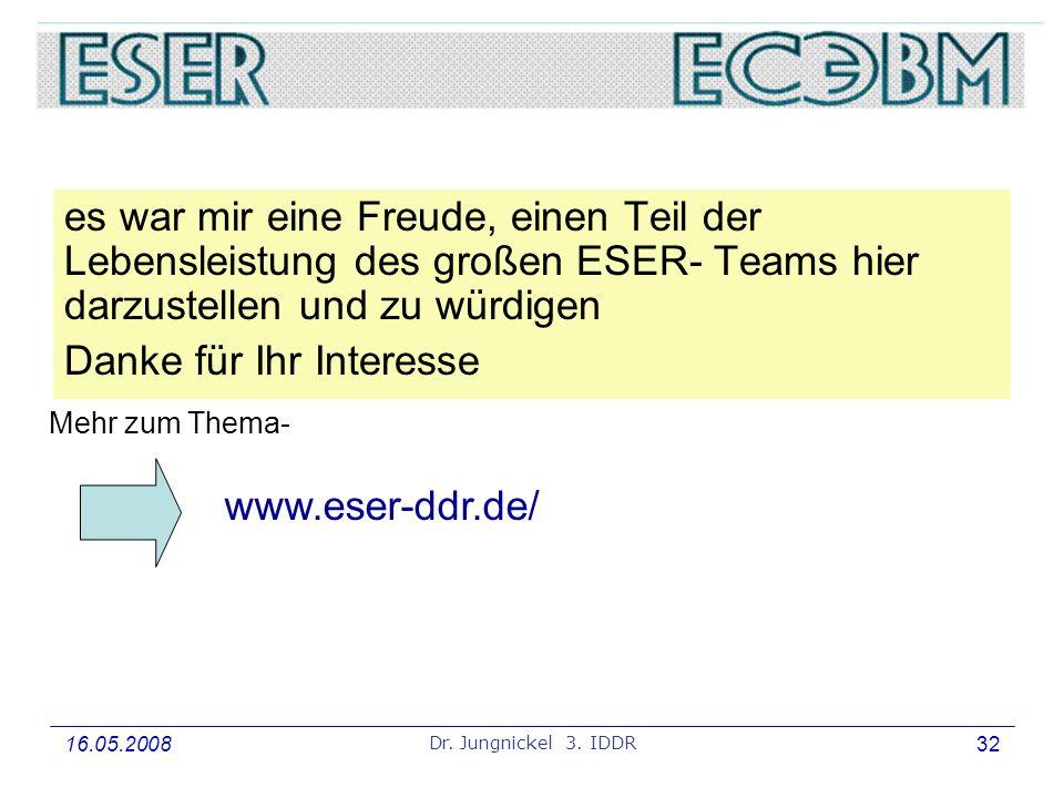 16.05.2008 Dr. Jungnickel 3. IDDR 32 3.IDDR, Sektion 6: Betriebssysteme, Rechnerarchitektur und Rechentechnik es war mir eine Freude, einen Teil der L