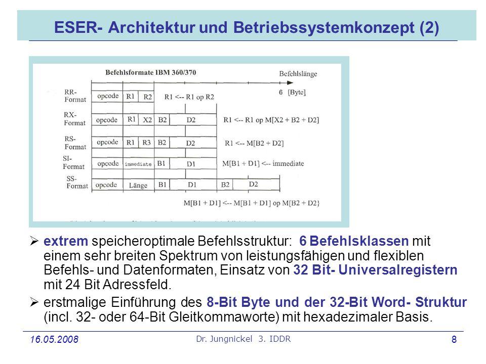 16.05.2008 Dr. Jungnickel 3. IDDR 8 ESER- Architektur und Betriebssystemkonzept (2) extrem speicheroptimale Befehlsstruktur: 6 Befehlsklassen mit eine