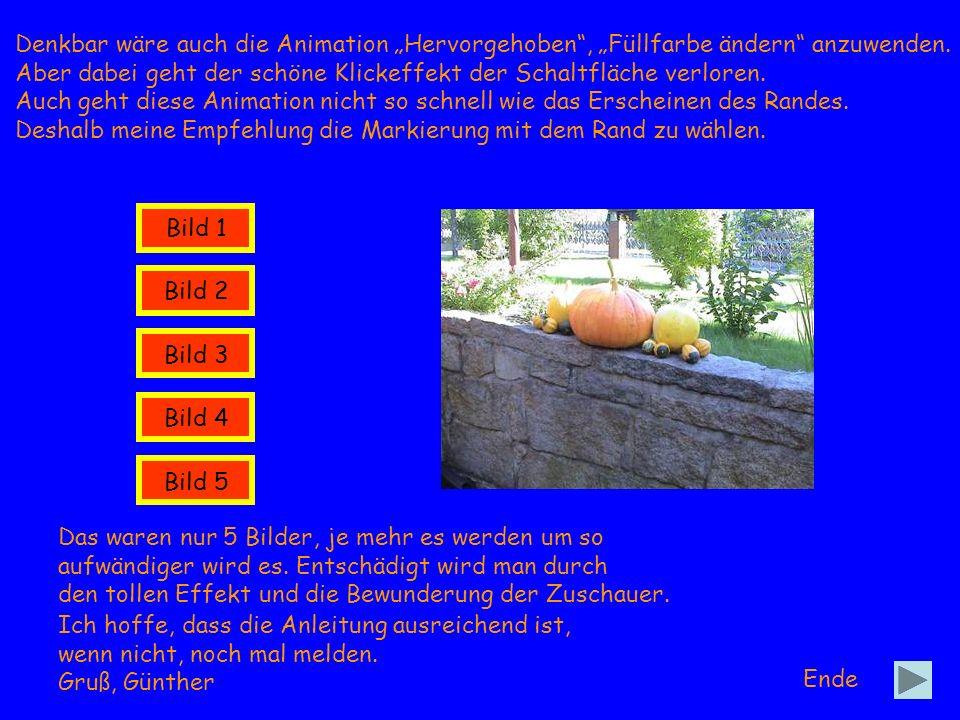 Bild 1 Bild 2 Bild 3 Bild 4 Bild 5 Ende Denkbar wäre auch die Animation Hervorgehoben, Füllfarbe ändern anzuwenden. Aber dabei geht der schöne Klickef