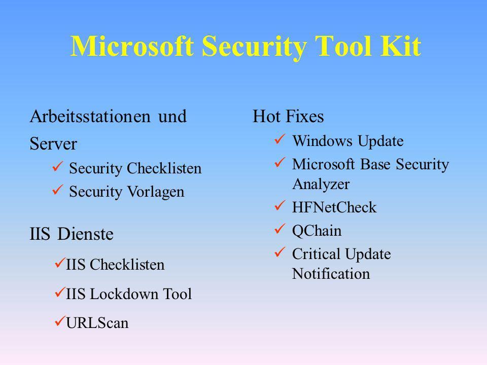 Port Filtering in der DMZ Benötigte Ports … IPsec (optional) Kerberos Ports Securing Kerberos with IPSec on DCs broken in Win2K SP2 (Q309304) oder SP3 500 UDP: Internet Key Exchange (IKE) ESP (Encapsulating Security Payload ): Port 50 AH (Authentication Header): Port 51 RPCs (optional) 135 und 1024 oder..