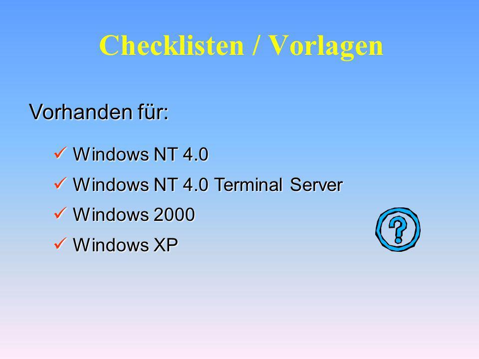 QChain Tool für Windows NT 4.0 @echo off setlocal set PATHTOFIXES=E:\Hotfix %PATHTOFIXES%\Q123456i.exe -z -m %PATHTOFIXES%\Q123321i.exe -z -m %PATHTOFIXES%\Q123789i.exe -z -m %PATHTOFIXES%\qchain.exe @echo off setlocal set PATHTOFIXES=E:\Hotfix %PATHTOFIXES%\Q123456i.exe -z -m %PATHTOFIXES%\Q123321i.exe -z -m %PATHTOFIXES%\Q123789i.exe -z -m %PATHTOFIXES%\qchain.exe Switch – Z unterdrückt den Neustart Switch – Z unterdrückt den Neustart Switch – M Unattended Mode Switch – M Unattended Mode