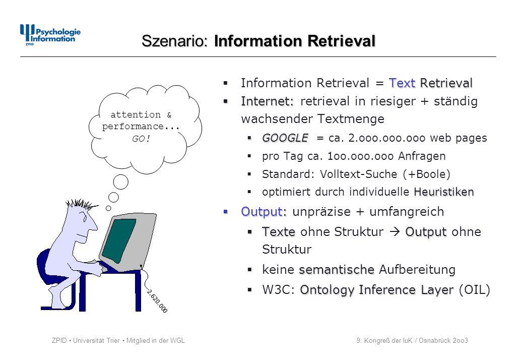 ZPID Universität Trier Mitglied in der WGL 9. Kongreß der IuK / Osnabrück 2oo3 Text Retrieval Information Retrieval = Text Retrieval Internet: Interne