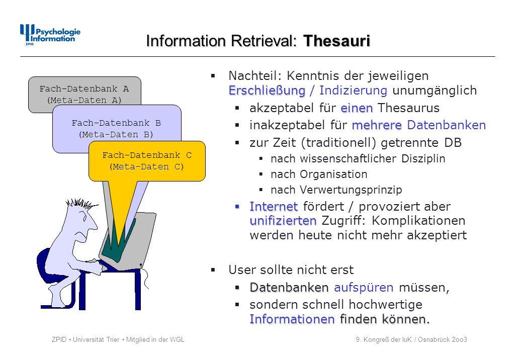 ZPID Universität Trier Mitglied in der WGL 9. Kongreß der IuK / Osnabrück 2oo3 Erschließung Nachteil: Kenntnis der jeweiligen Erschließung / Indizieru