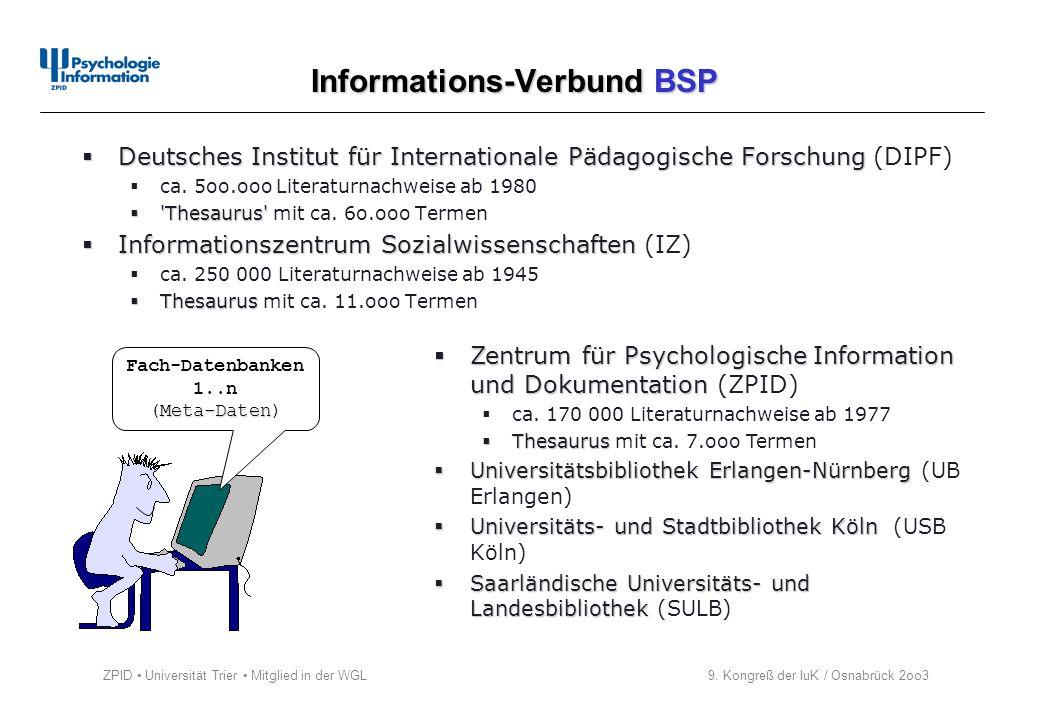 ZPID Universität Trier Mitglied in der WGL 9. Kongreß der IuK / Osnabrück 2oo3 Informations-Verbund BSP Fach-Datenbanken 1..n Meta-Daten (Meta-Daten)