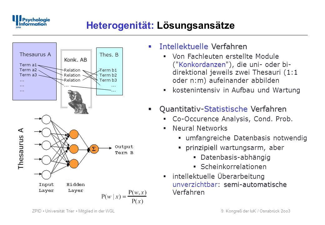 ZPID Universität Trier Mitglied in der WGL 9. Kongreß der IuK / Osnabrück 2oo3 Heterogenität: Lösungsansätze Intellektuelle Verfahren Intellektuelle V