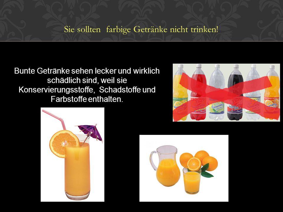 Bunte Getränke sehen lecker und wirklich schädlich sind, weil sie Konservierungsstoffe, Schadstoffe und Farbstoffe enthalten.